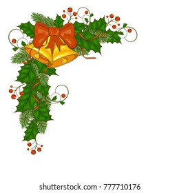 Decorative border from a traditional Christmas objects.  illustration