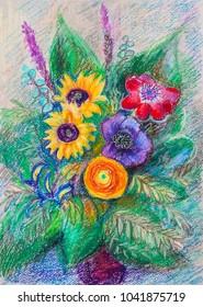 Decorative bouquet of bright flowers