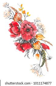 Decorative bouquet with poppies. Meadow bouquet with red and orange flowers. Watercolor background.