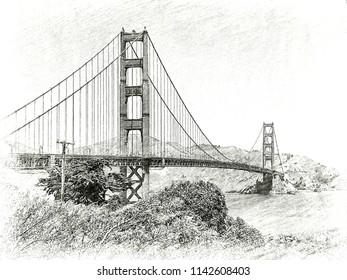 Decorative B&W stylised image of the Golden Gate Bridge, San Francisco