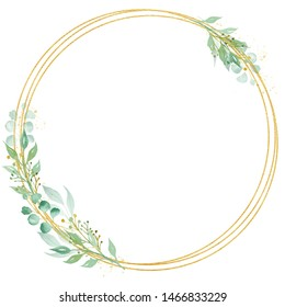 Decorative circle shaped frame watercolor raster illustration. Round thin border with copyspace. Floral invitation, greeting card, postcard watercolour design element. Gold line with foliage