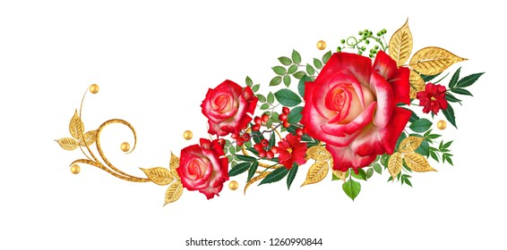 Decorative corner vignette. Golden curl, glittering leaves, flower rinds, red roses. Isolated on white background.