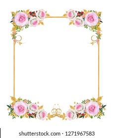 Decorative corner vignette. Golden curl, glittering leaves, flowers, pink roses. Isolated on white background.