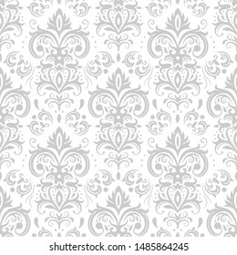 Decorative damask pattern. Vintage ornament, baroque flowers and silver venetian ornate floral ornaments. Royal victorian flourish wallpaper or diploma heraldry seamless background