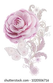 Decorative decoration, paisley element, delicate textured silver leaves made of fine lace and pearls. Jeweled shiny curls, thread from beads, bud pastel pink rose. Openwork weaving delicate, butterfly