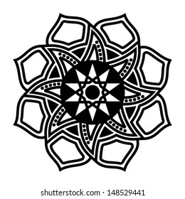 Decorative Design Flower Black White Simple Stock Illustration 148529441
