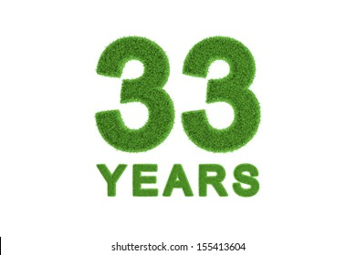 Decorative eco-friendly three-dimensional green grass numbers for a 33rd anniversary or birthday celebration, greeting card, invitation or congratulations isolated on white
