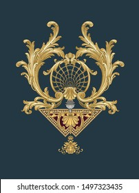 Decorative elegance and luxury patterns.  Baroque gold, rococo style.  An antique golden pattern.