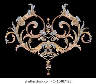 Decorative elegant luxury design.golden elements in baroque, rococo style.seamless vintage pattern.
