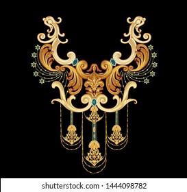 Decorative elegant luxury design.golden elements in baroque, rococo style.Vintage flower