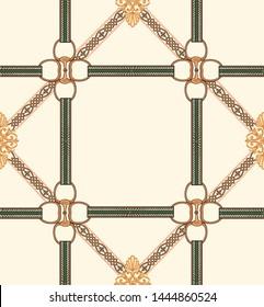 Decorative elegant luxury design.golden elements in baroque, rococo style.Belt and chain pattern.