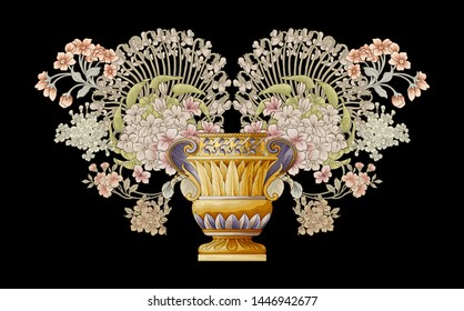 Decorative elegant luxury design.golden elements in baroque, rococo style.