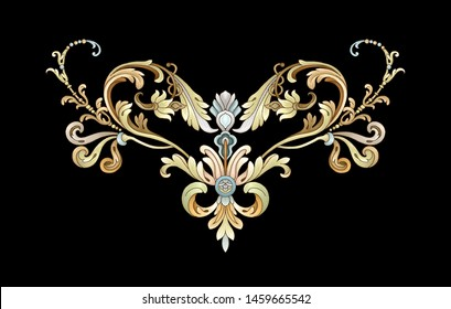 Decorative elegant luxury design.golden elements in baroque, rococo style.Design for cover, fabric, textile, wrapping paper .