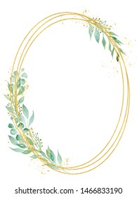 Decorative ellipse shaped frame watercolor raster illustration. Geometric thin oval border with copyspace. Floral invitation, greeting card, postcard watercolour design element. Gold line with foliage