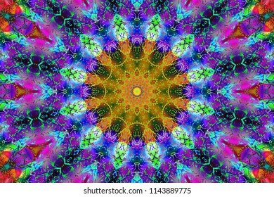 decorative fantasy , flower ornament. the idea for the fabric, Wallpaper, carpets, seal. abstract pattern kaleidoscope Illustration with a kaleidoscope. psychedelic background.