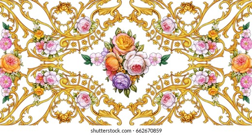 Decorative floral composition in Baroque style 2