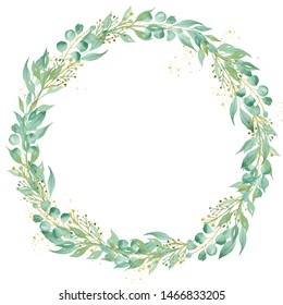 Decorative floral round frame watercolor raster illustration. Circular botanical wreath with copyspace. Floral invitation, greeting card, postcard watercolour design element. Circle shaped foliage