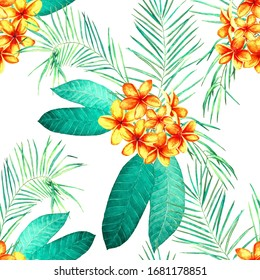 Decorative floral seamless patern with watercolor tropical flowers. Plumeria.  Heliconia. Colorful summer nature background.