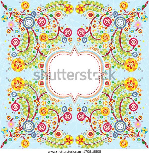 Decorative flowers invitation card on blue, text  banner, grunge