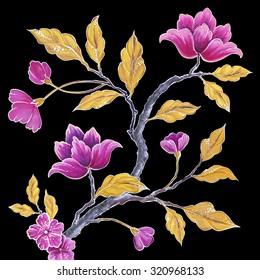 decorative flowers and leaves, chinoiserie floral branch background