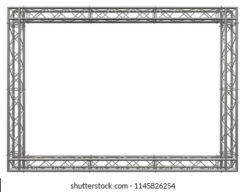 Decorative frame. 3D rendering. Matt stainless steel spatial construction in the form of a rectangle, assembled from tubular trusses with flanges, connected with bolts and nuts. Isolated on white.