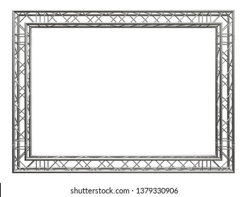 Decorative frame. 3D rendering. Matt aluminum spatial construction in the form of a rectangle, assembled from tubular trusses, connected with couplers, pins and clips. Isolated on white.