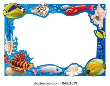 Decorative frame for photo with tropical bright fishes and seashells, raster from vector illustration