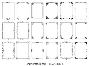 Decorative frames. Retro ornamental frame, vintage rectangle ornaments and ornate border. Decorative wedding frames, antique museum picture borders or deco devider. Isolated icons  set