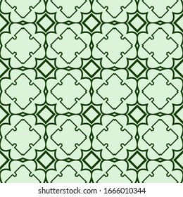 Decorative Geometric Ornament. Seamless Pattern.  Illustration. Tribal Ethnic Arabic, Indian, Motif. For Interior Design, Color Wallpaper. Green color.
