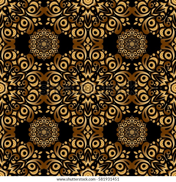 Decorative golden elements with black backdrop. Vintage seamless pattern for decoration, fabric or textile.