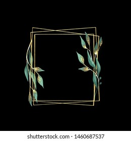 Decorative golden frame. Floral wreath with green leaves . Isolated on black