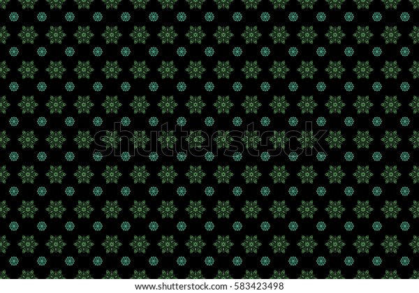 Decorative green snowflakes pattern. Design. Raster seamless pattern on black background for Christmas.
