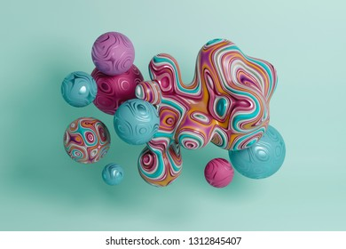 Decorative group of spheres and blob, wallpaper, 3d render / rendering