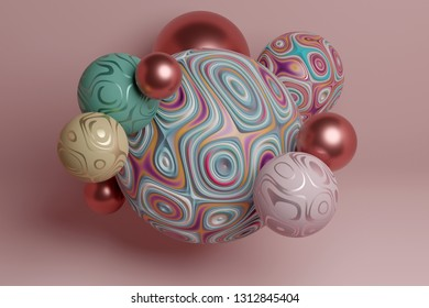 Decorative group of spheres, wallpaper, 3d render / rendering