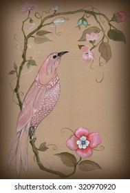 Decorative hand drawing pink bird and tree with flowers on silk background in chinoiserie style. Vintage card.