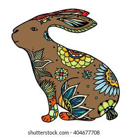 Decorative hand drawn doodle rabbit illustration. Ornate white hare drawing