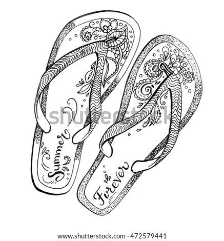 4f3400d49 Decorative hand drawn flip flops with lettering Summer forever. -  Illustration
