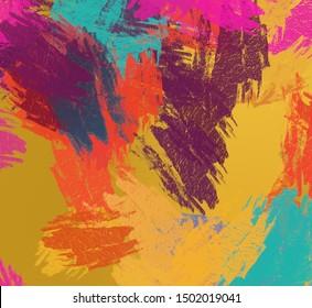 Decorative oil painting. Vibrant dynamic art. 2d illustration. Texture backdrop mix unique matrix form. Creative natural chaos structure element material creation bitmap figures. Acrylic vivid variety