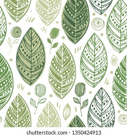 Decorative ornamental endless elegant texture with leaves. Tempate for design fabric, backgrounds, wrapping paper, background seasonal seamless pattern with leaf, summer leaf background