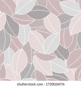 Decorative ornamental seamless soft brown beige pattern. Endless elegant texture with leaves. Tempate for design fabric, backgrounds, wrapping paper, package, covers