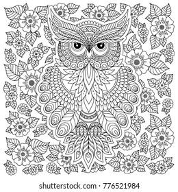 Owl Floral Ornament Adult Antistress Coloring Stock Vector (Royalty ...