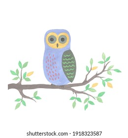 Decorative owl on branch on white background, handmade illustration