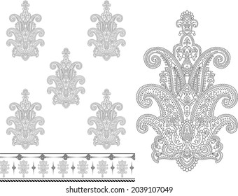 decorative paisley design, floral indian pattern Royalty Free Cliparts, Stock Illustration with seamless border