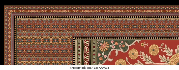 decorative paisley mughal motif pattern