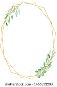 Decorative polygonal oval frame watercolor raster illustration. Geometrical thin border with copyspace. Floral invitation, greeting card, postcard watercolour design element. Gold ellipse with foliage
