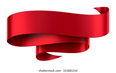 Decorative red ribbon banner isolated on white