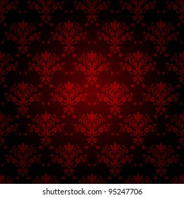 decorative red seamless wallpaper with dark background, vector version also available in my portfolio