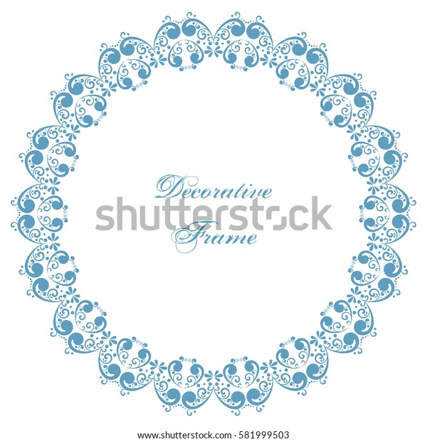 Decorative round frame with swirls. Ornamental background for greeting card or wedding invitation. Illustration.