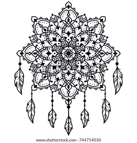 Decorative Round Ornaments Mandalas Coloring Book Stockillustration ...