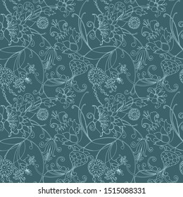 Decorative seamless paisley pattern with fantasy flowers, stylized climbing plants.Suitable for textiles, covers, wrapping paper, home decor, tiles, tapestries ,web .Blue contour on emerald background
